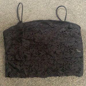 Black lace cropped top with adjustable straps